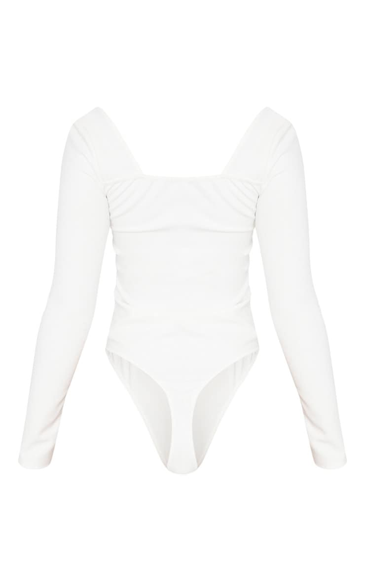 White Long Sleeve Square Neck Thong Bodysuit 4
