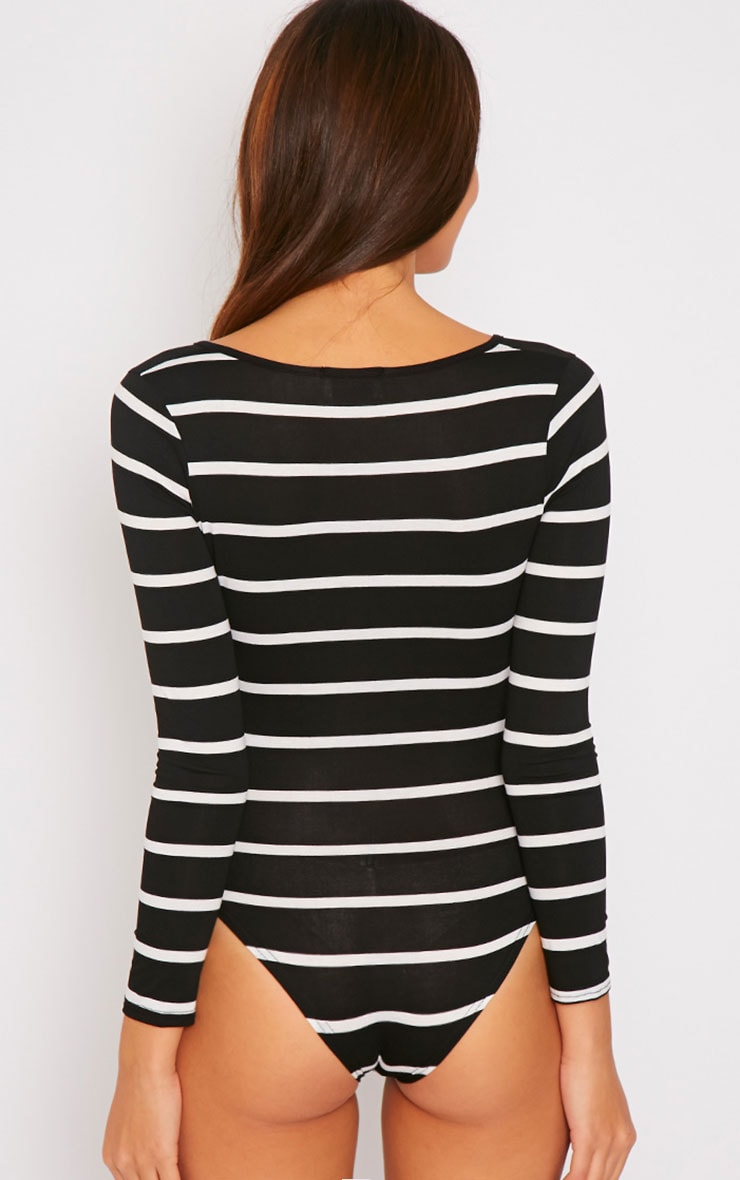 Tessa Black Stripe Wrap Over Plunge Bodysuit  4