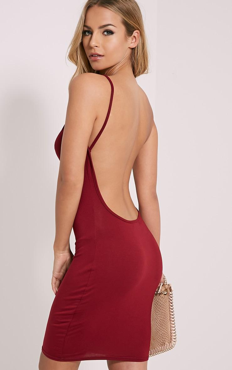 Natallia Burgundy Scoop Back Dress 1