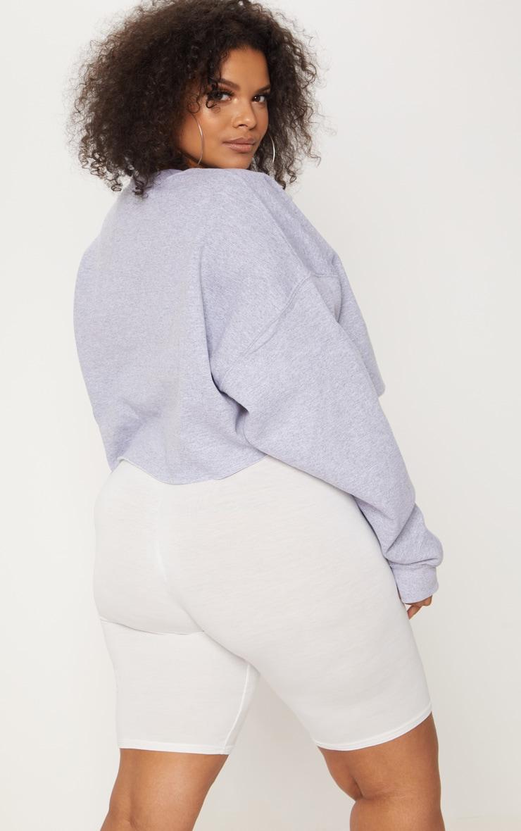 Plus Grey EMPOWERED Cropped Slogan Sweater 2