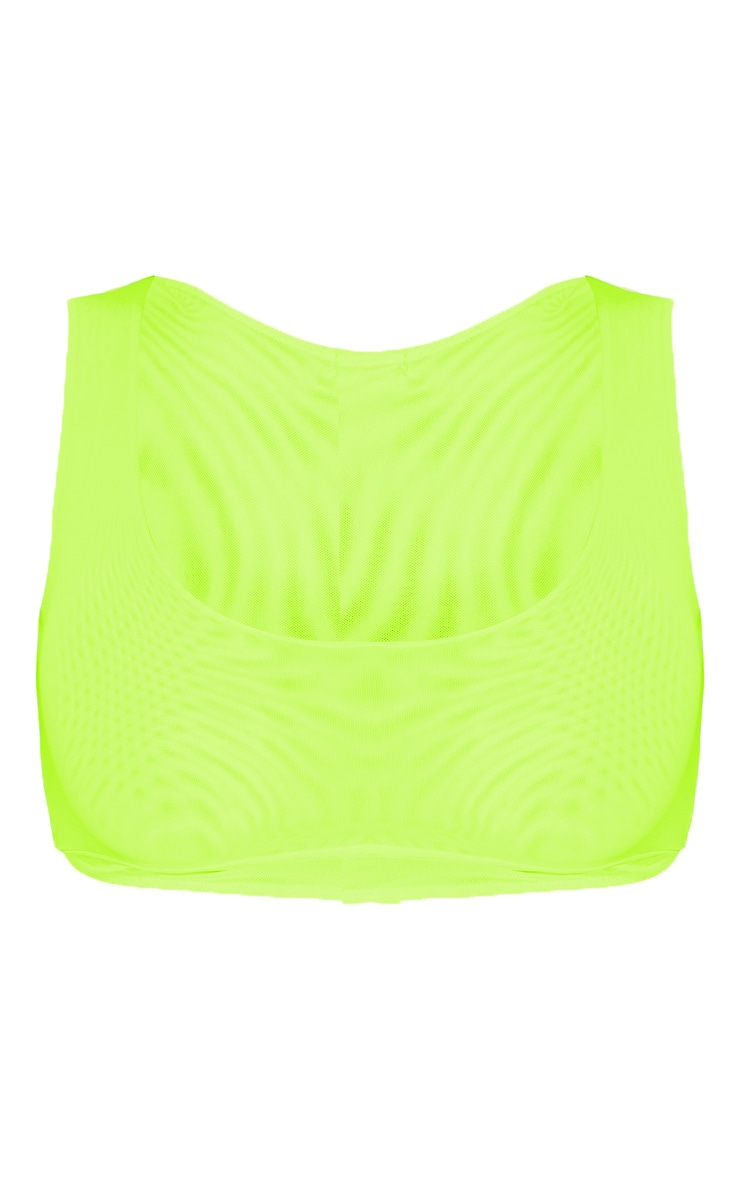 Neon Yellow Mesh Scoop Neck Sleeveless Top 3