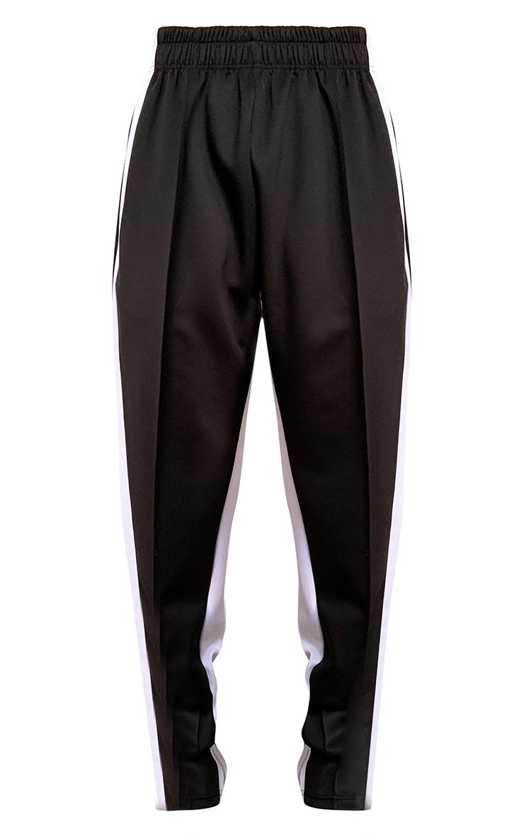 Black Contrast Stripe Zip Hem Wide Leg Joggers 5