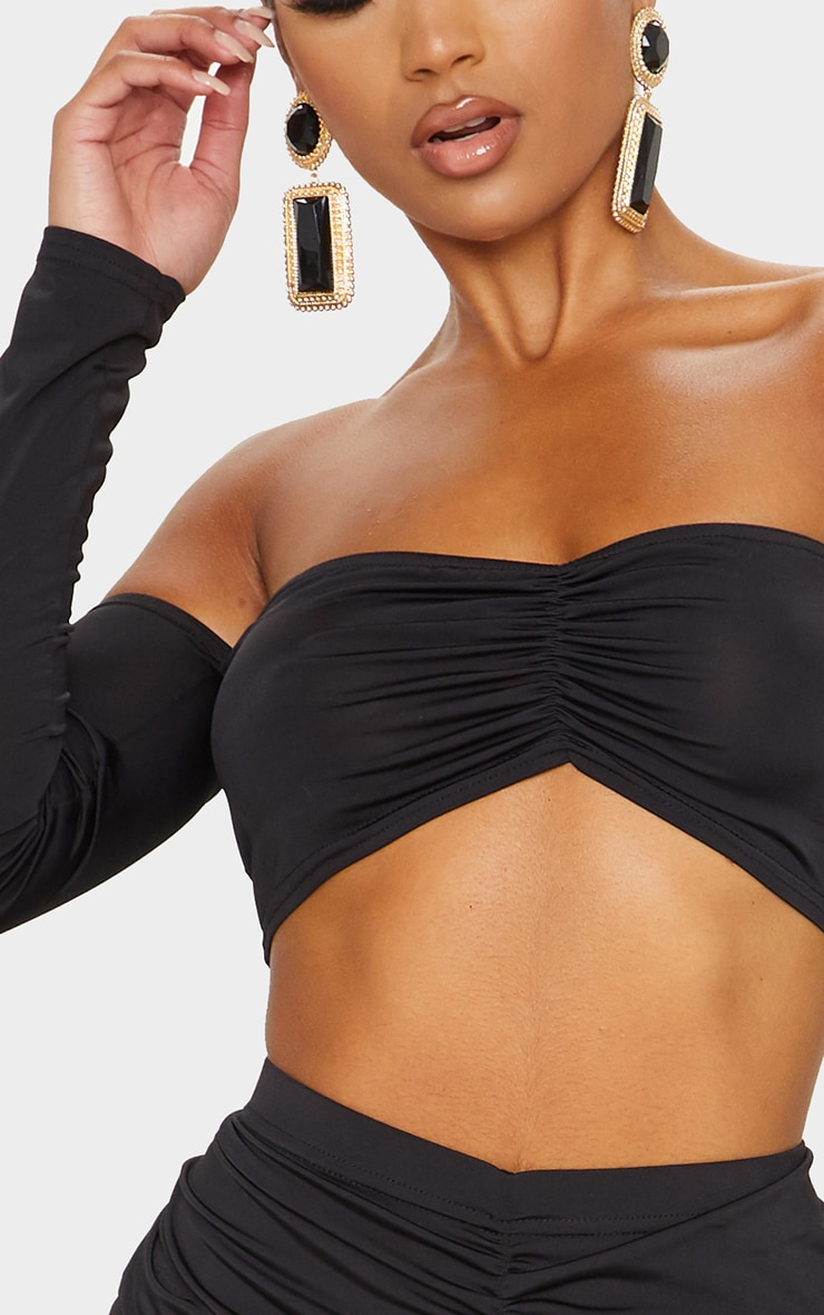 Black Ruched Long Sleeve Bardot Crop Top 4