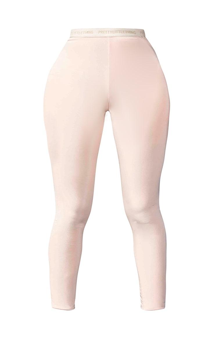 PRETTYLITTLETHING Shape - Legging taille haute slinky nude 5