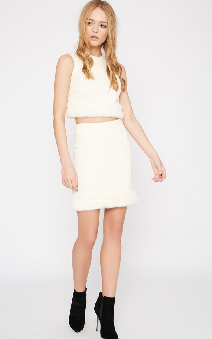Rosella Cream Fur Trim Mini Skirt  1