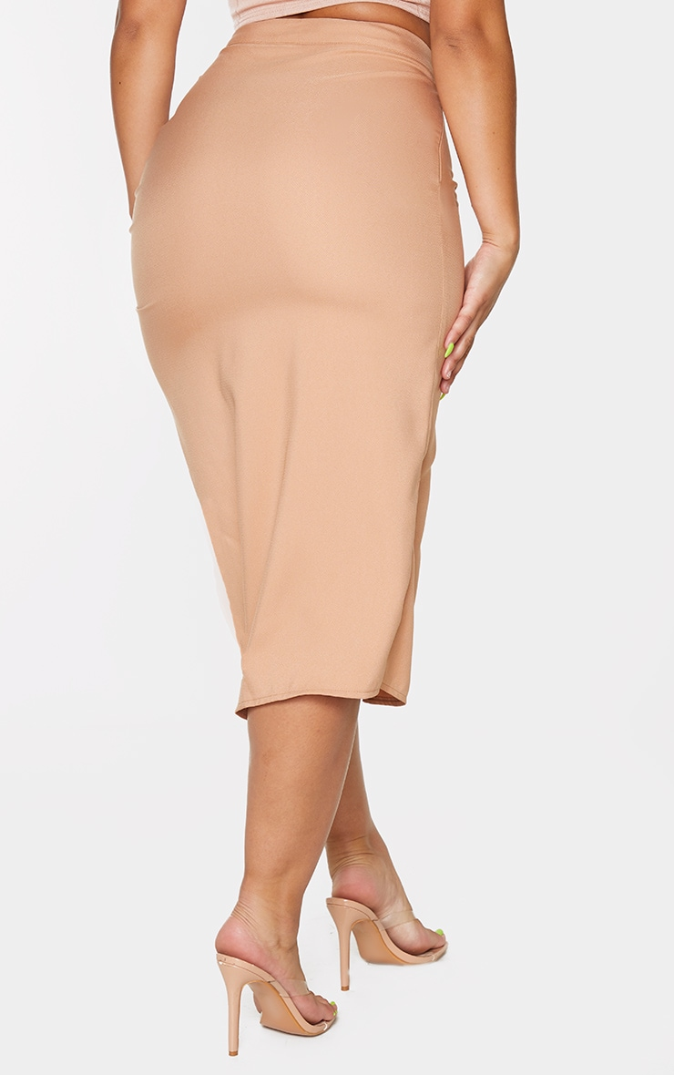 Camel Woven Ruched Detail Midi Skirt 3