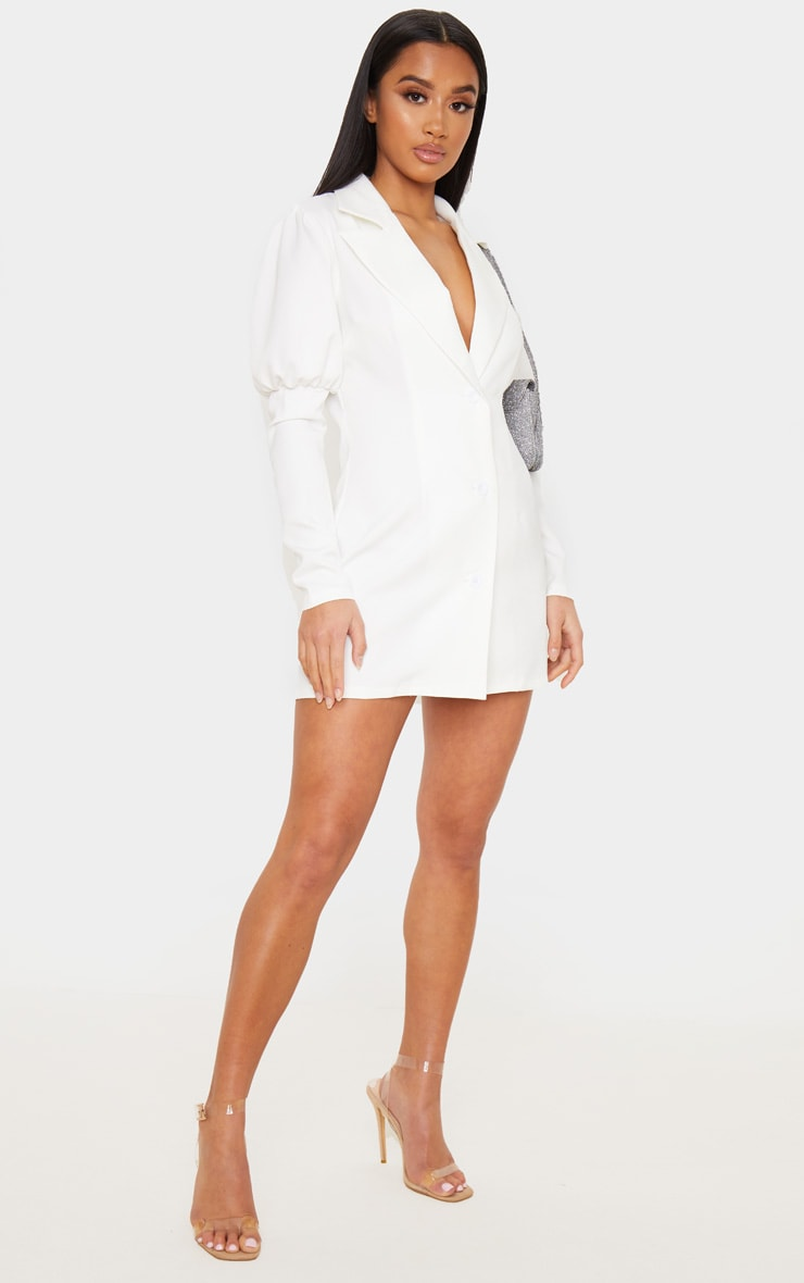 Petite White Puff Sleeve Fitted Blazer Dress 4
