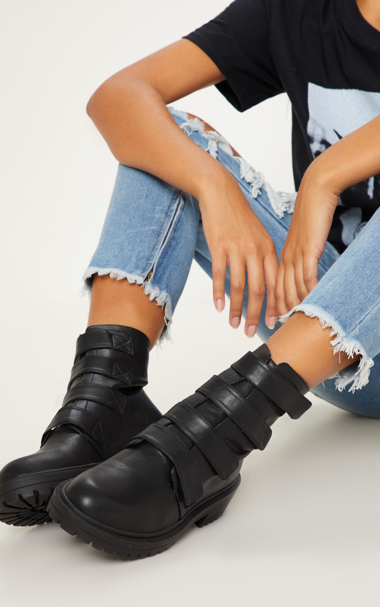 Black Velcro Strap Biker Boot