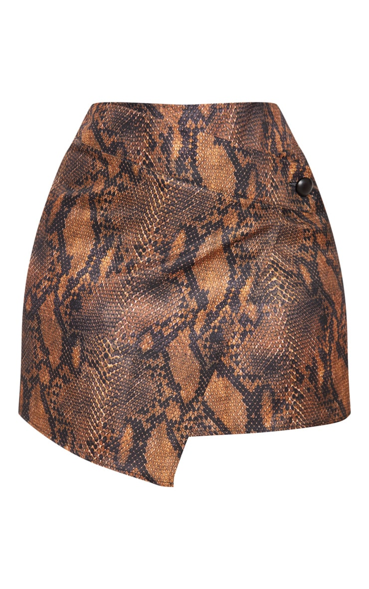 Plus Brown Snake Print Button Detail Wrap Mini Skirt 3