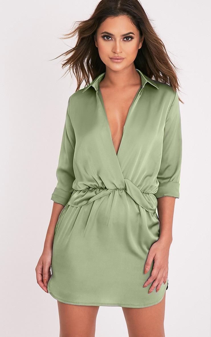831e043fc9b51 Katalea Sage Green Twist Front Silky Shirt Dress image 1