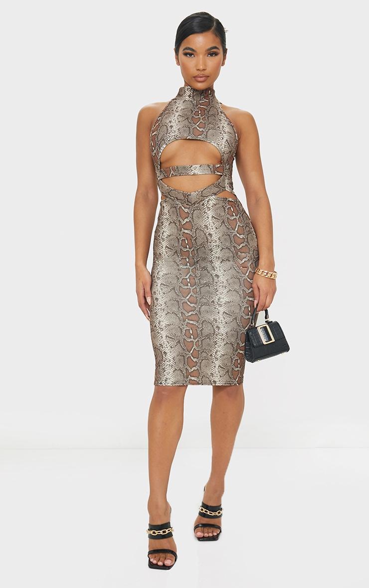 Brown Snake Print High Neck Cut Out Waist Midi Dress 1
