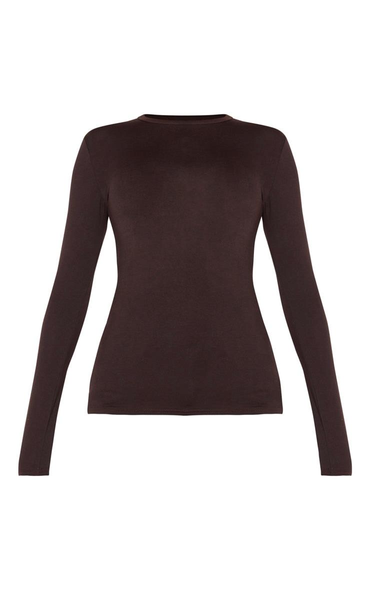 Tall Chocolate Brown Basic Long Sleeve Top 3