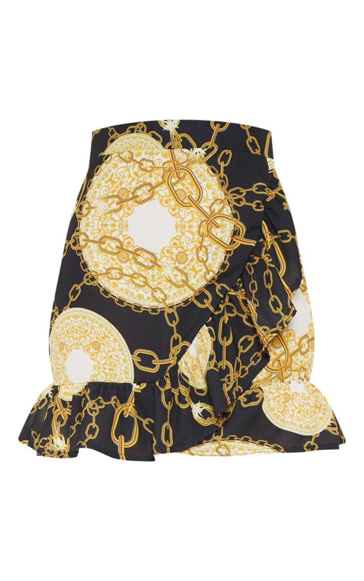 Black Chain Printed Frill Hem Wrap Mini Skirt 3
