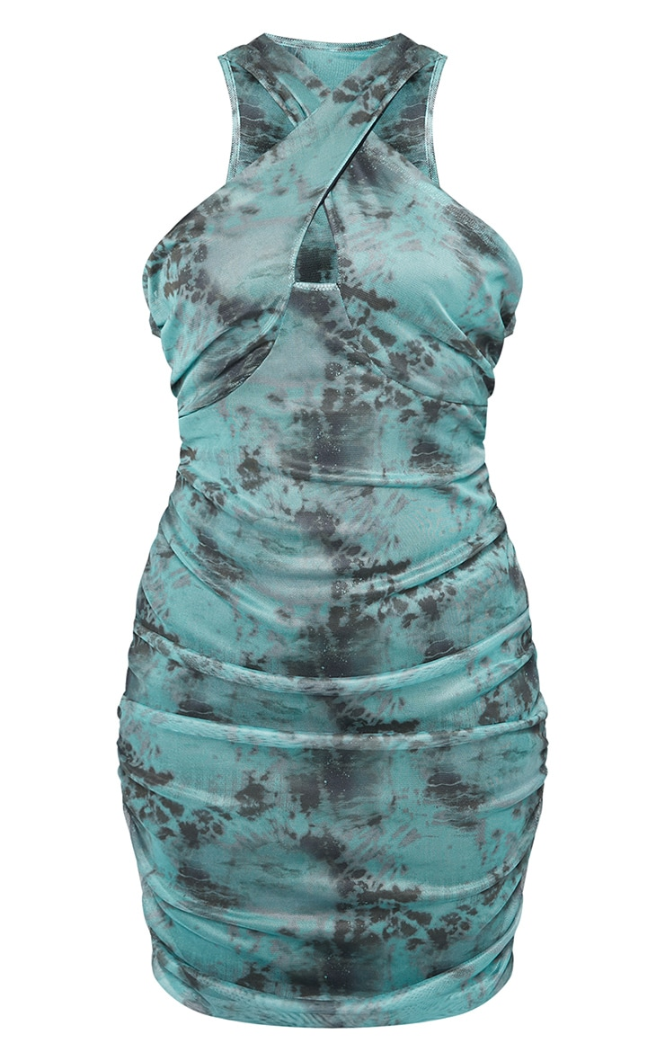 Plus Teal Mesh Cross Over Bodycon Dress 4
