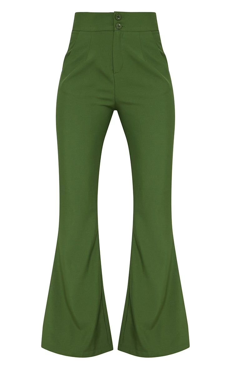 Olive High Waisted Double Button Waist Flared Pants 5
