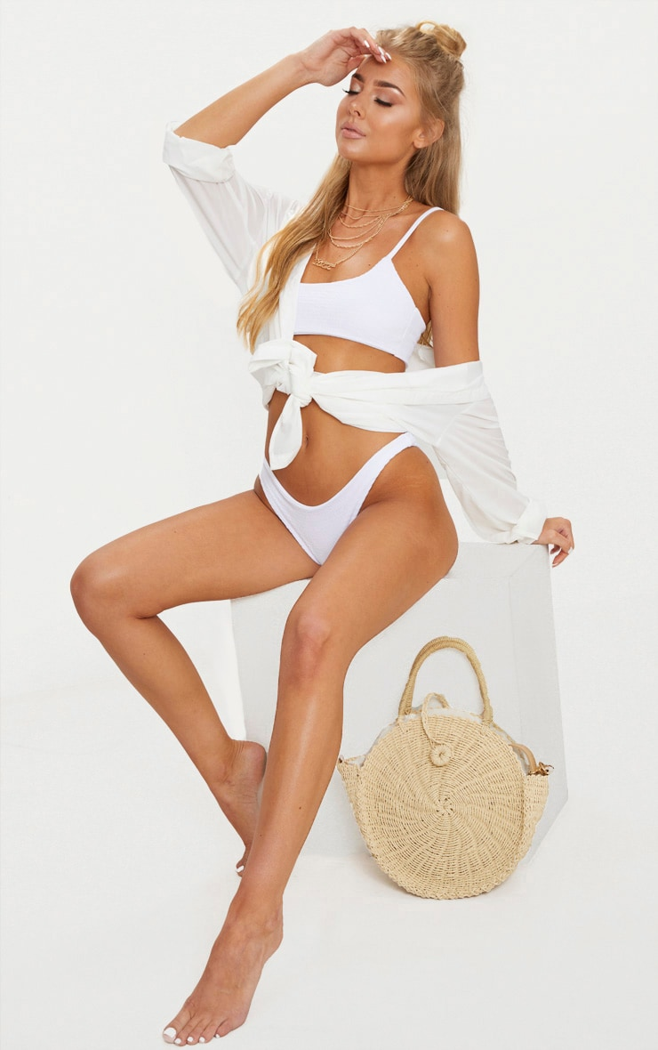 White Crinkle Scoop Neck Bikini Top 4
