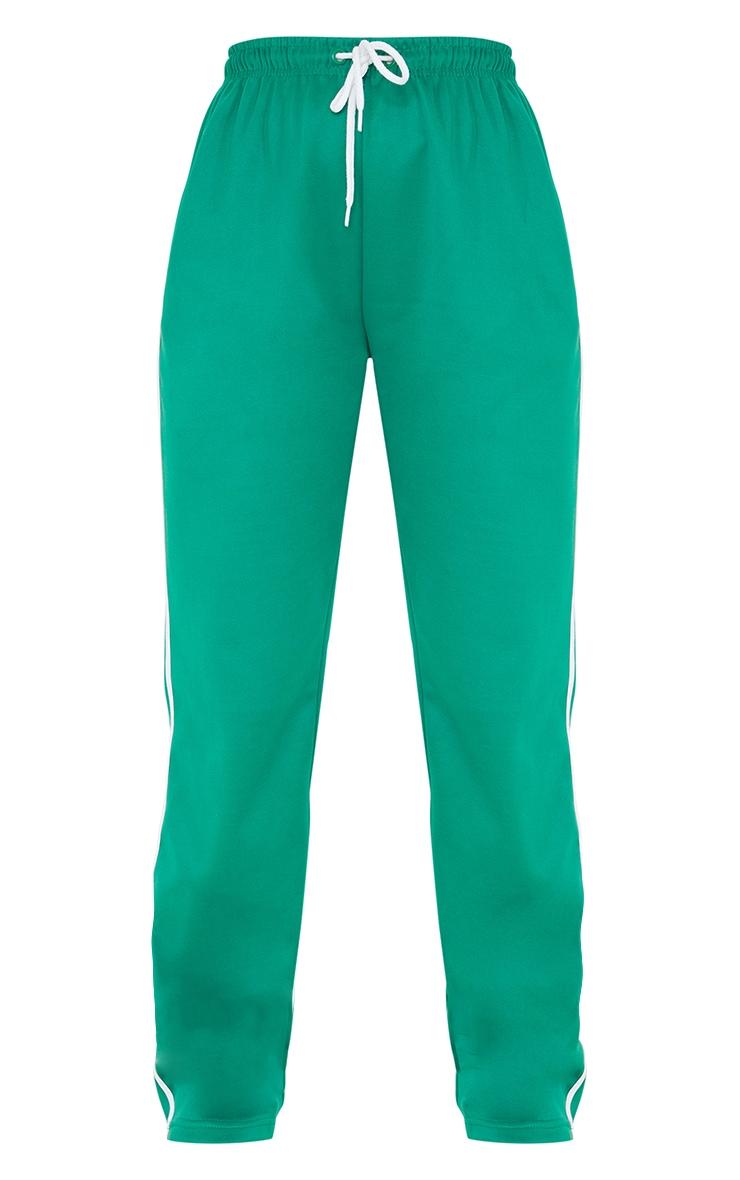 Deep Green Tri Cot Side Stripe Wide Leg Joggers 5