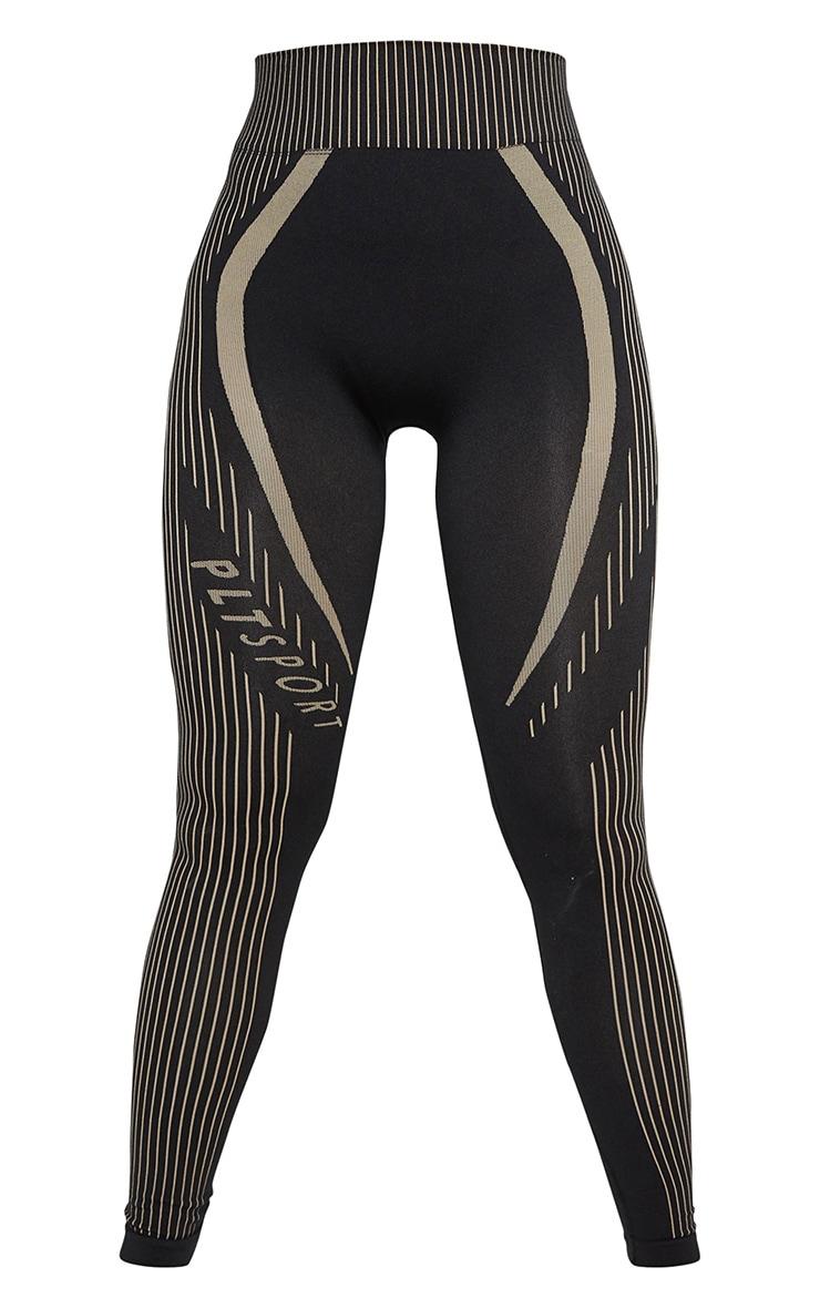 PRETTYLITTLETHING Black Contrast Stripe Seamless Gym Leggings 5