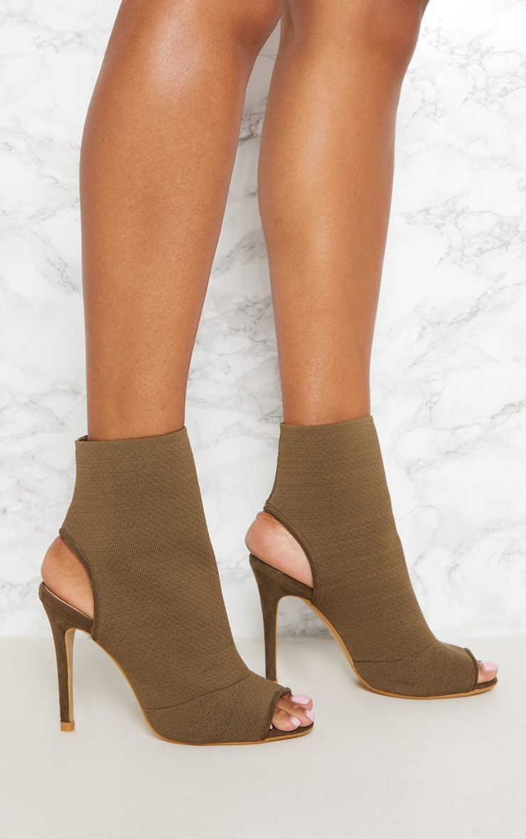 Khaki Knit Peeptoe Shoe Boot 5