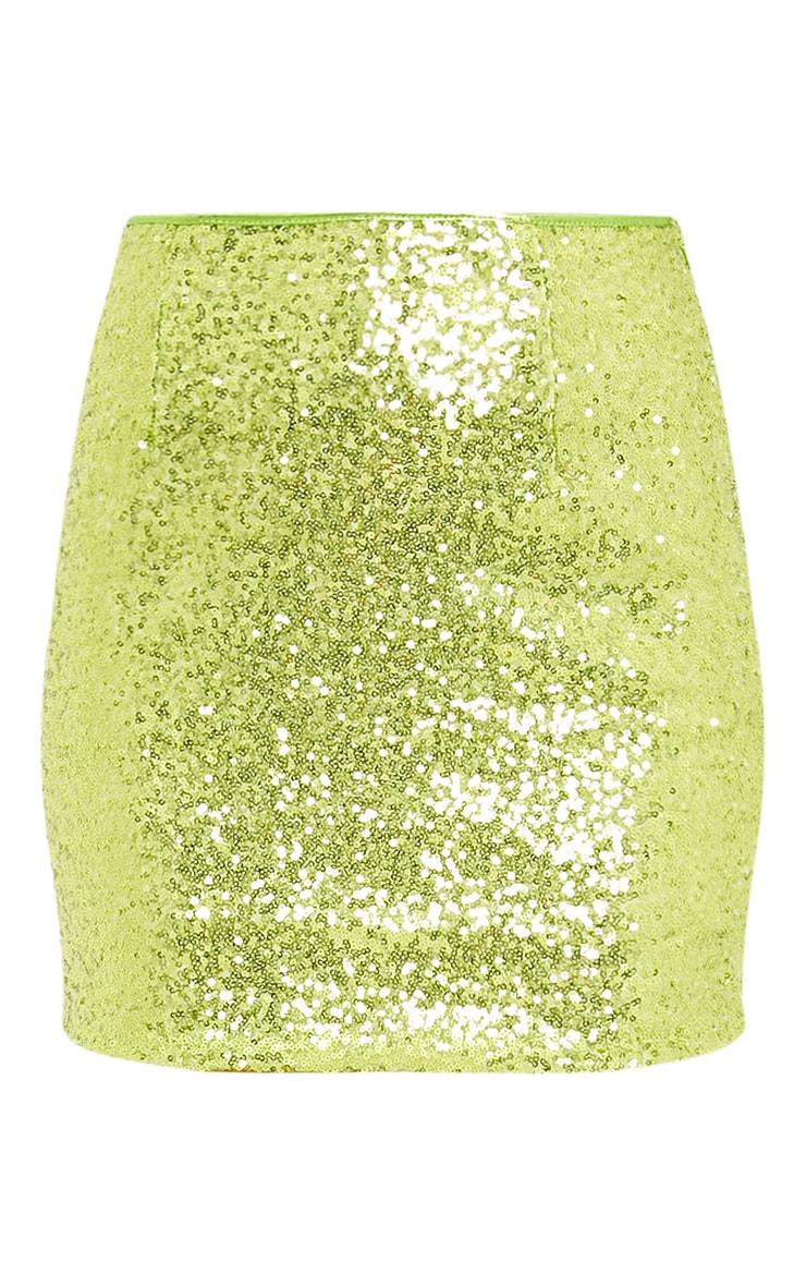 Laniyah Lime Sequin Mini Skirt 3