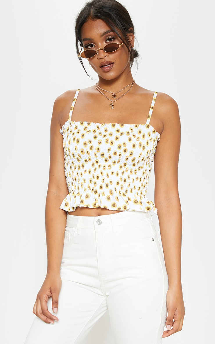 White Sunflower Printed Shirred Tie Detail Crop Top 1