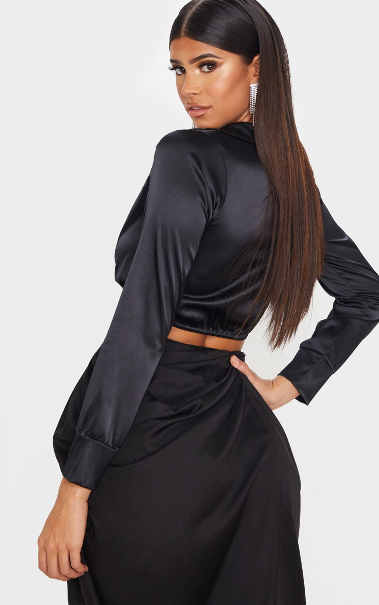 Black Satin Tie Front Cropped Blouse 2