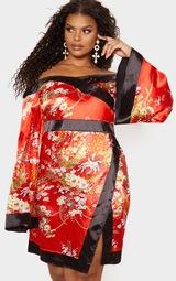 Plus Red Bardot Oriental Flare Sleeve Bodycon Dress 4