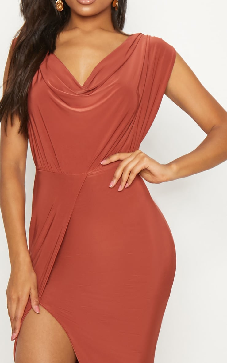 Rust Double Layer Slinky Cowl Neck Wrap Midi Dress 4