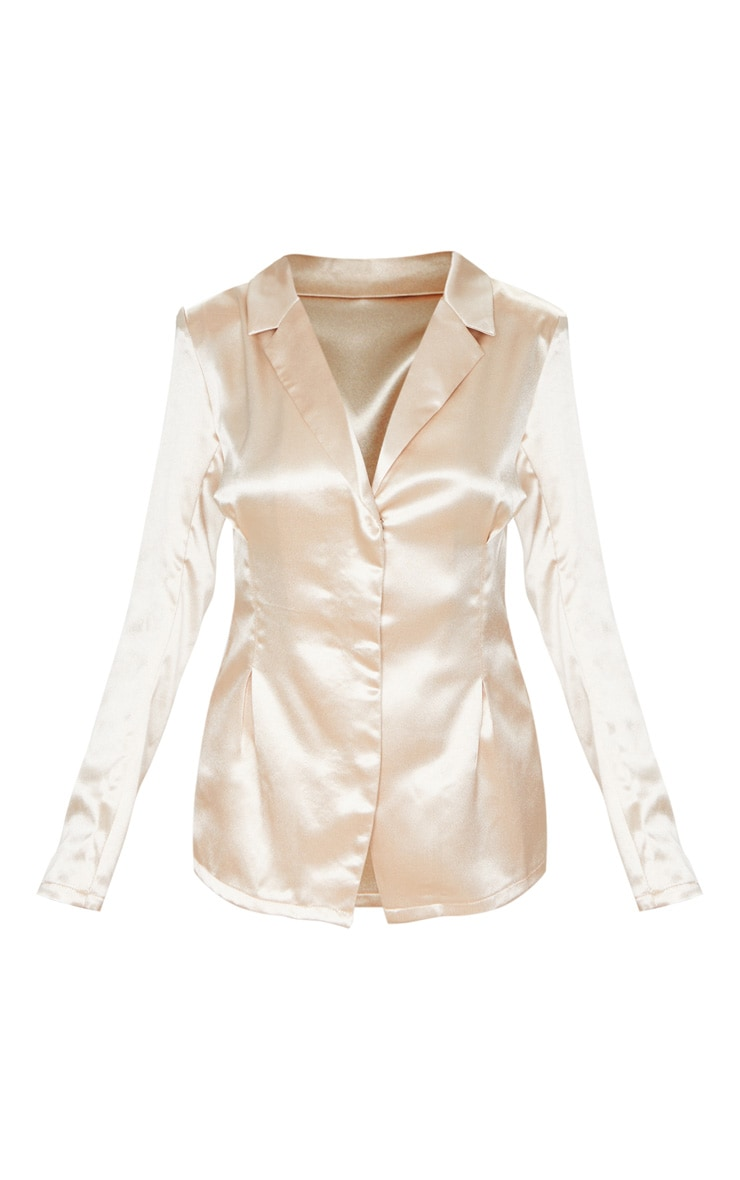 Petite Champagne Satin Fitted Blazer 3