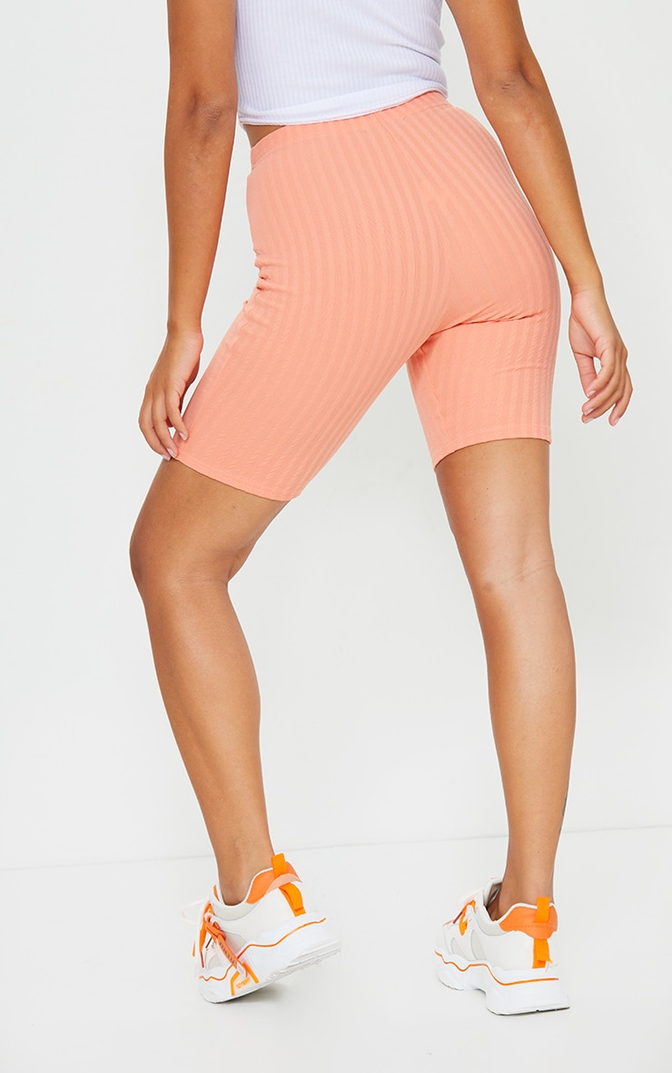 Petite Peach Crinkle Cycle Shorts 3