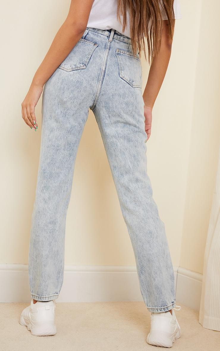 Acid Blue Wash Long Leg Straight Jeans 3