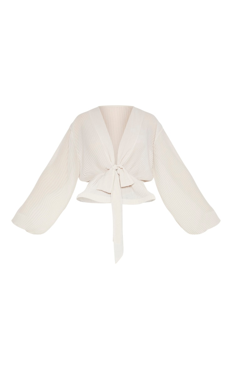 Nude Chiffon Pleated Flounced Hem Blouse 3