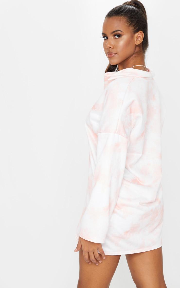Blush Tie Dye Print Collar Detail Sweater Dress 2