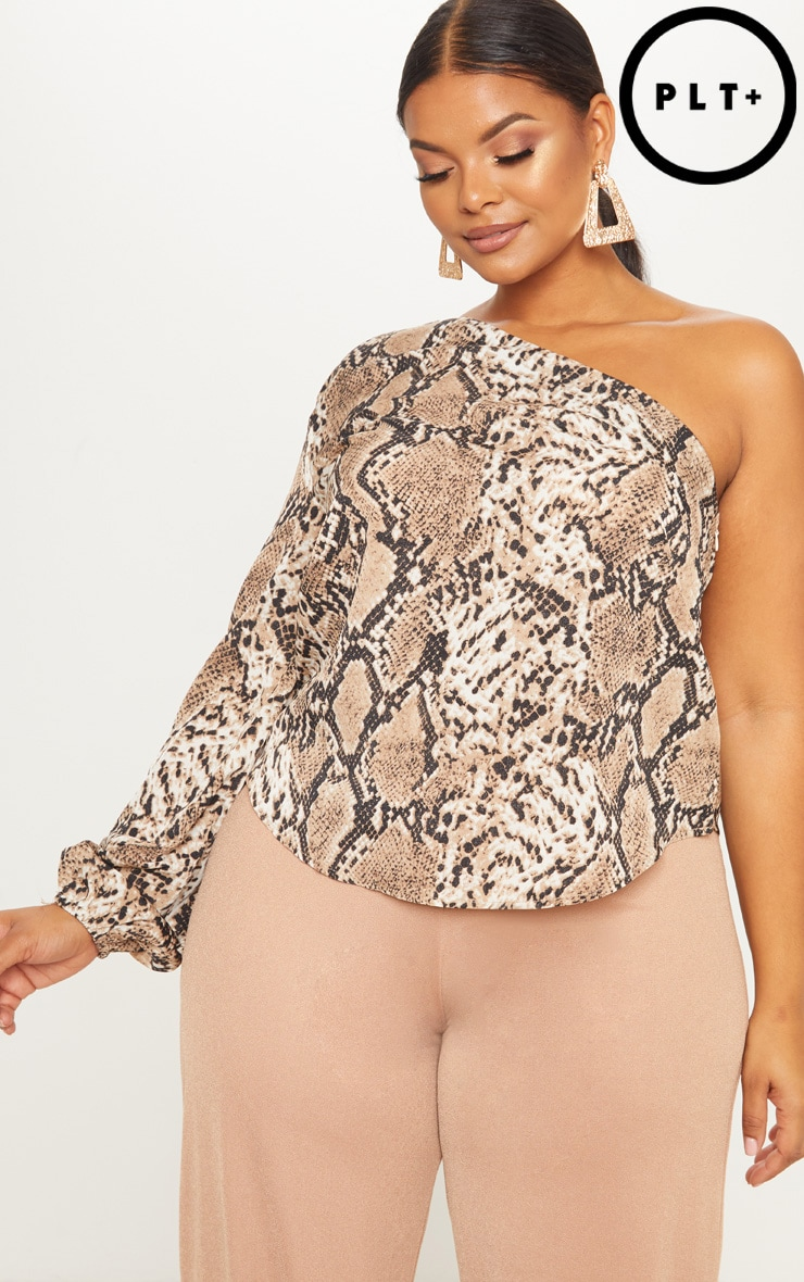 Plus Taupe Snake Print One Shoulder Blouse