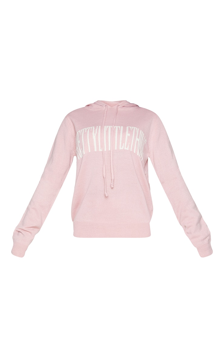 PRETTYLITTLETHING Petite Pink Knitted Hoodie 5