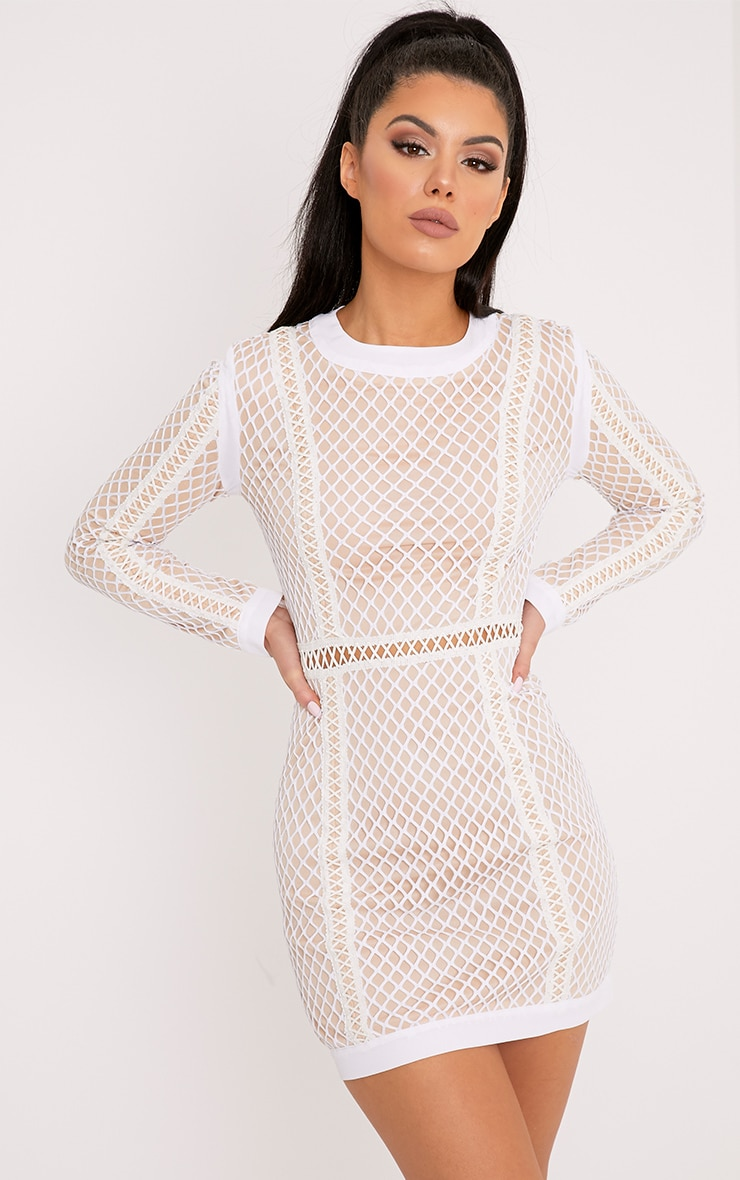 Thea White Fishnet Panel Bodycon Dress