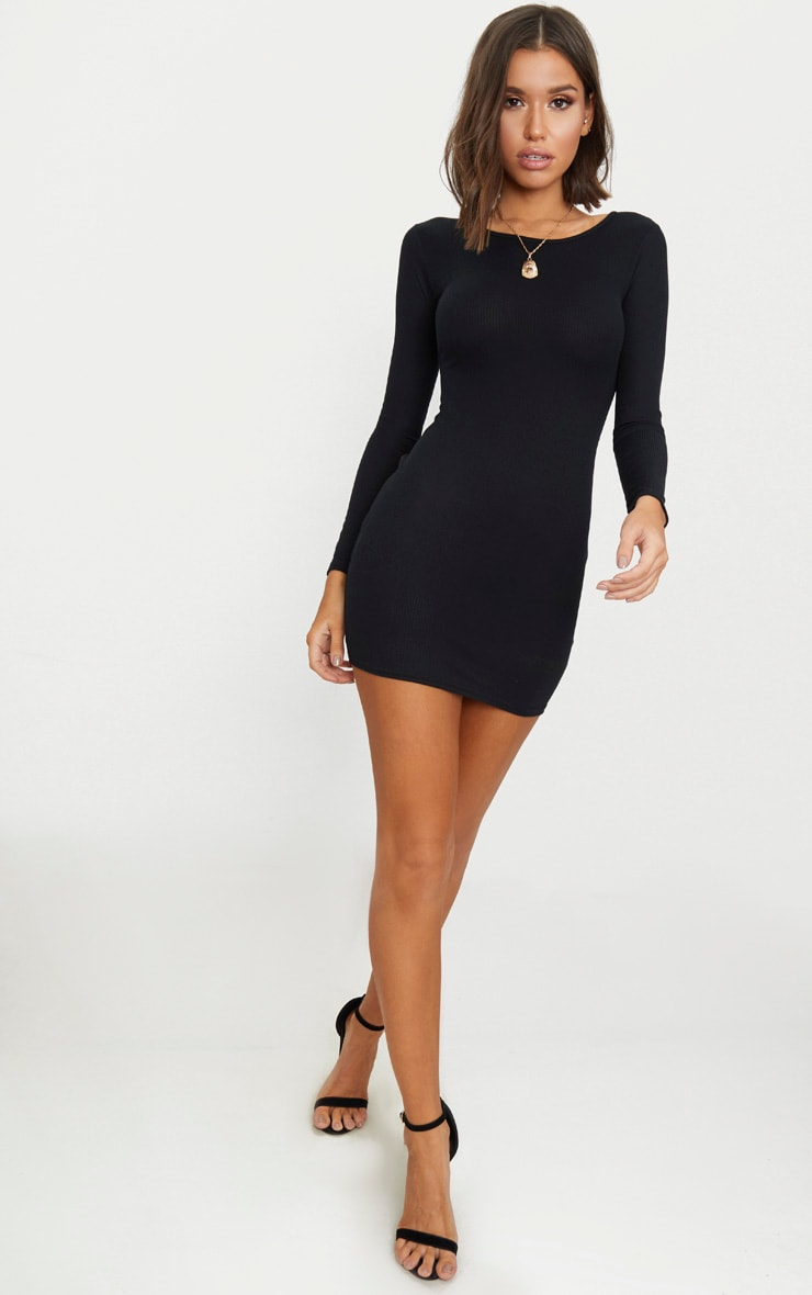 Basic Black Ribbed Long Sleeve Bodycon Dress 4