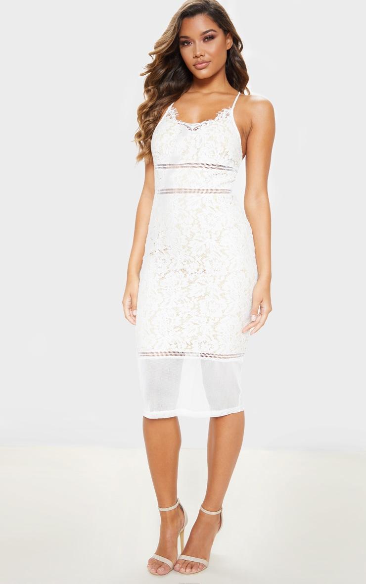 White Lace Cross Back Strappy Midi Dress 1