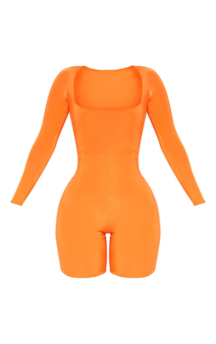 Shape Orange Slinky Square Neck Unitard 3