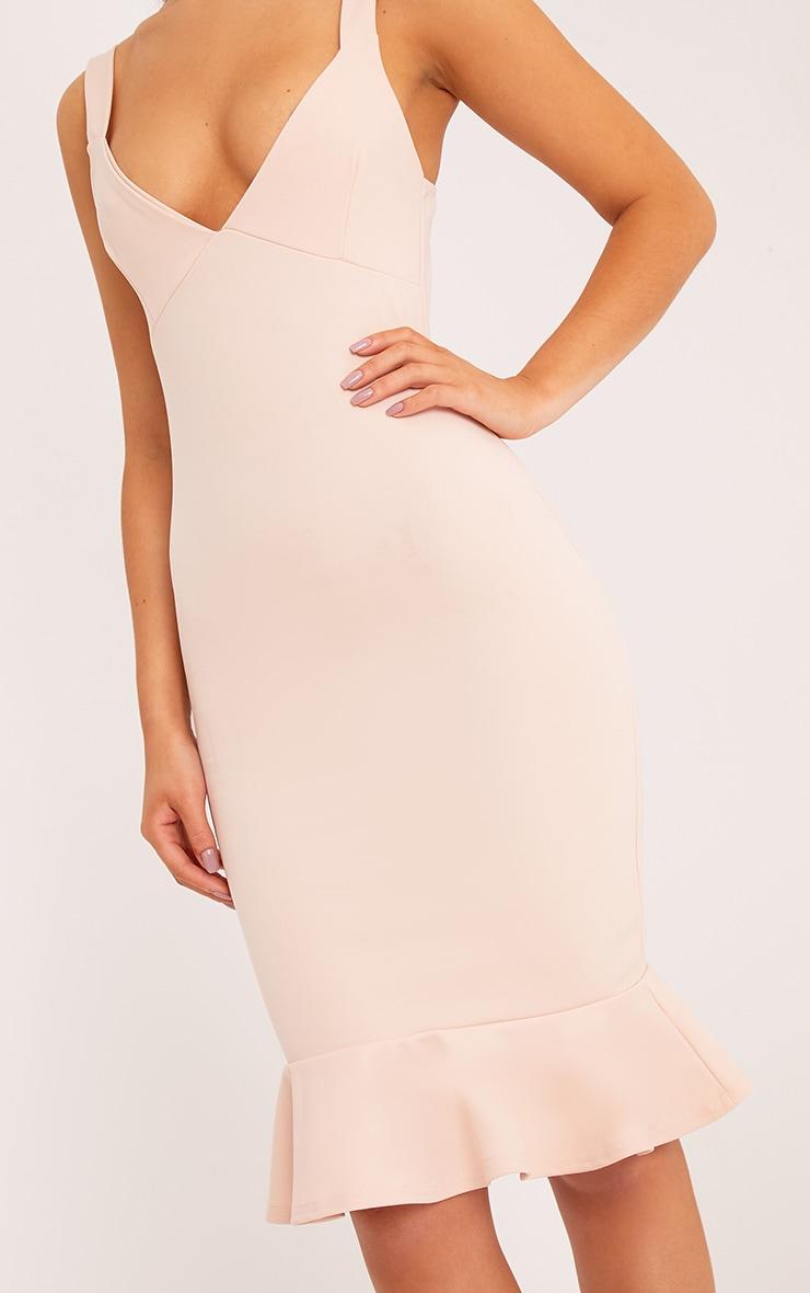 Mikaela Nude Plunge Frill Hem Midi Dress 4