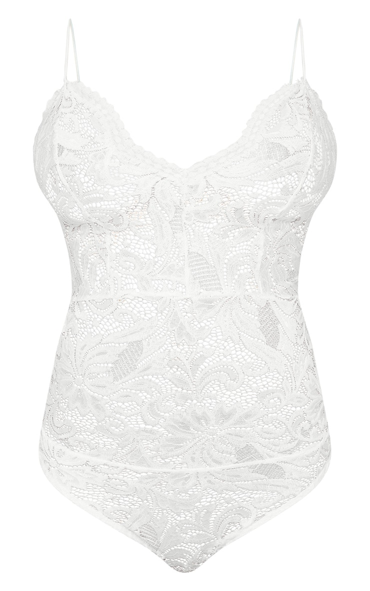Tall White Sheer Lace Bodysuit 3
