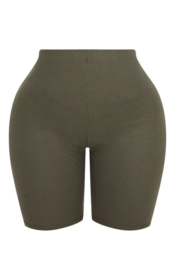 Shape Khaki Ribbed Bike Shorts 3