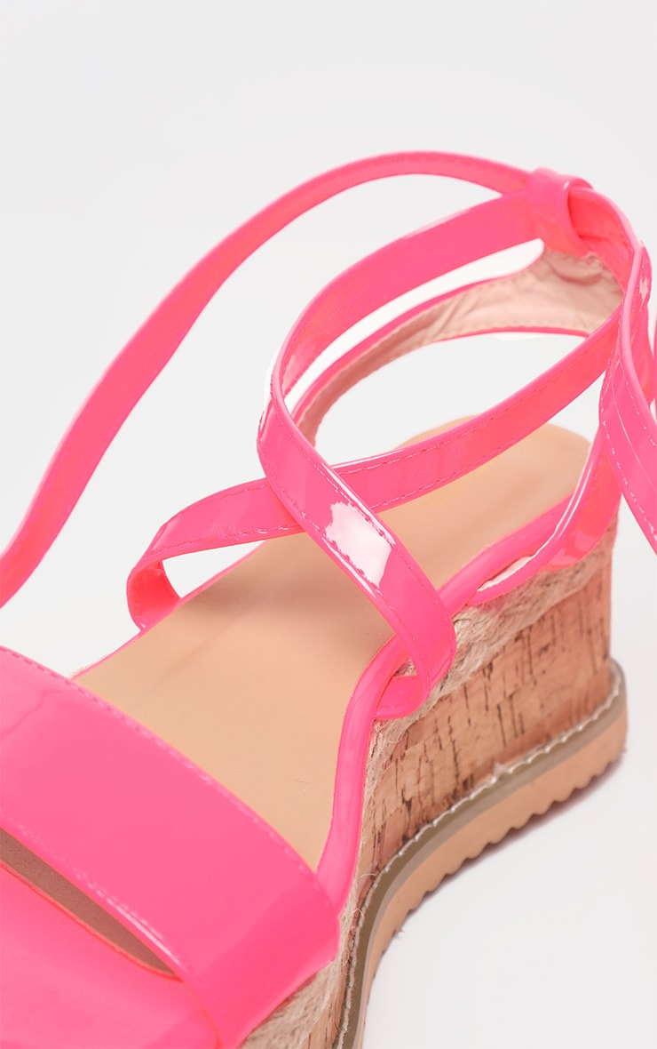 Pink Neon Flatform Espadrille Sandal  4