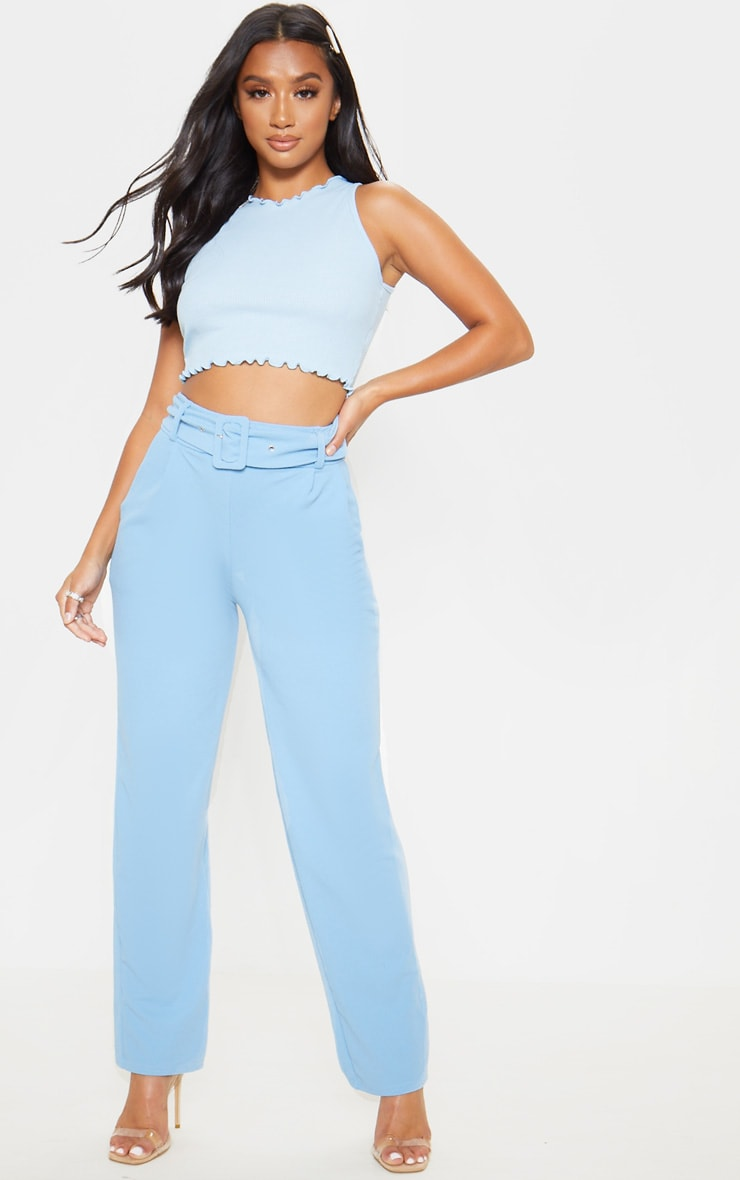 Petite Baby Blue Belted Straight Leg Trouser 1