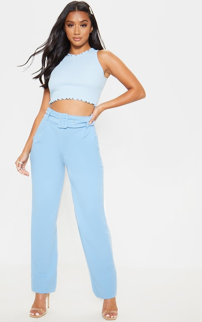 Petite Baby Blue Belted Straight Leg Trouser