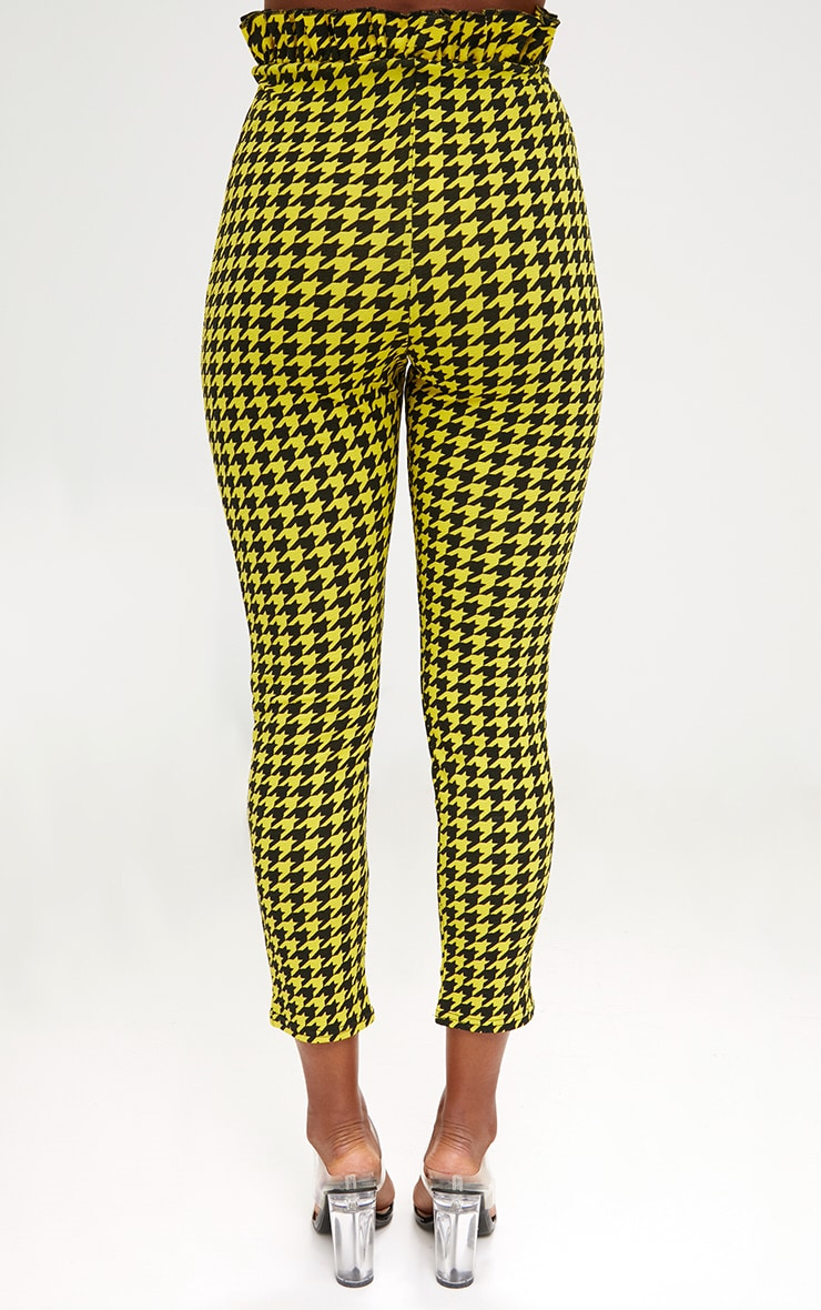 Yellow Dogtooth Paperbag Waist Skinny Trousers 2