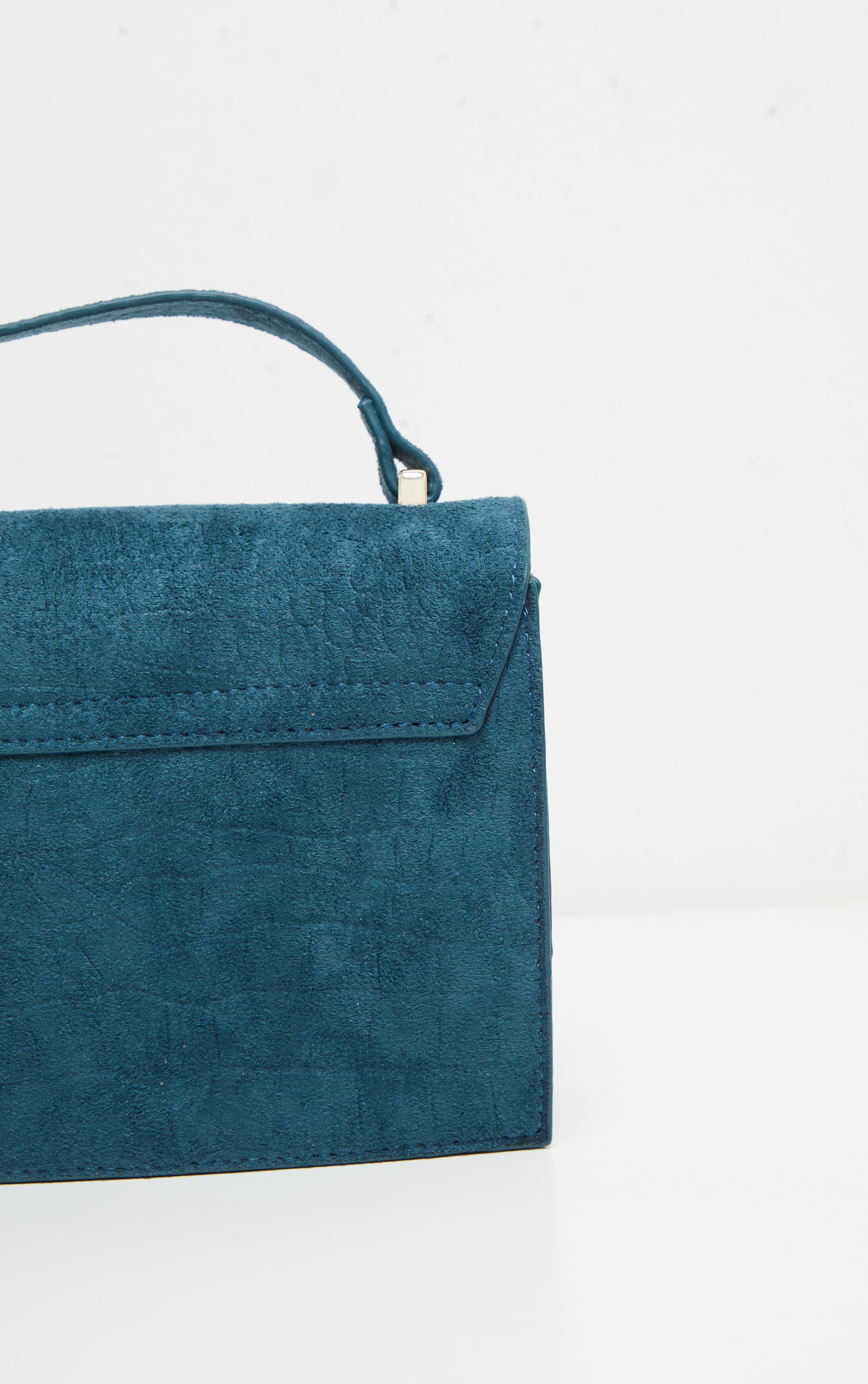 Petrol Blue Croc Embossed Velvet Box Cross Body Bag 4