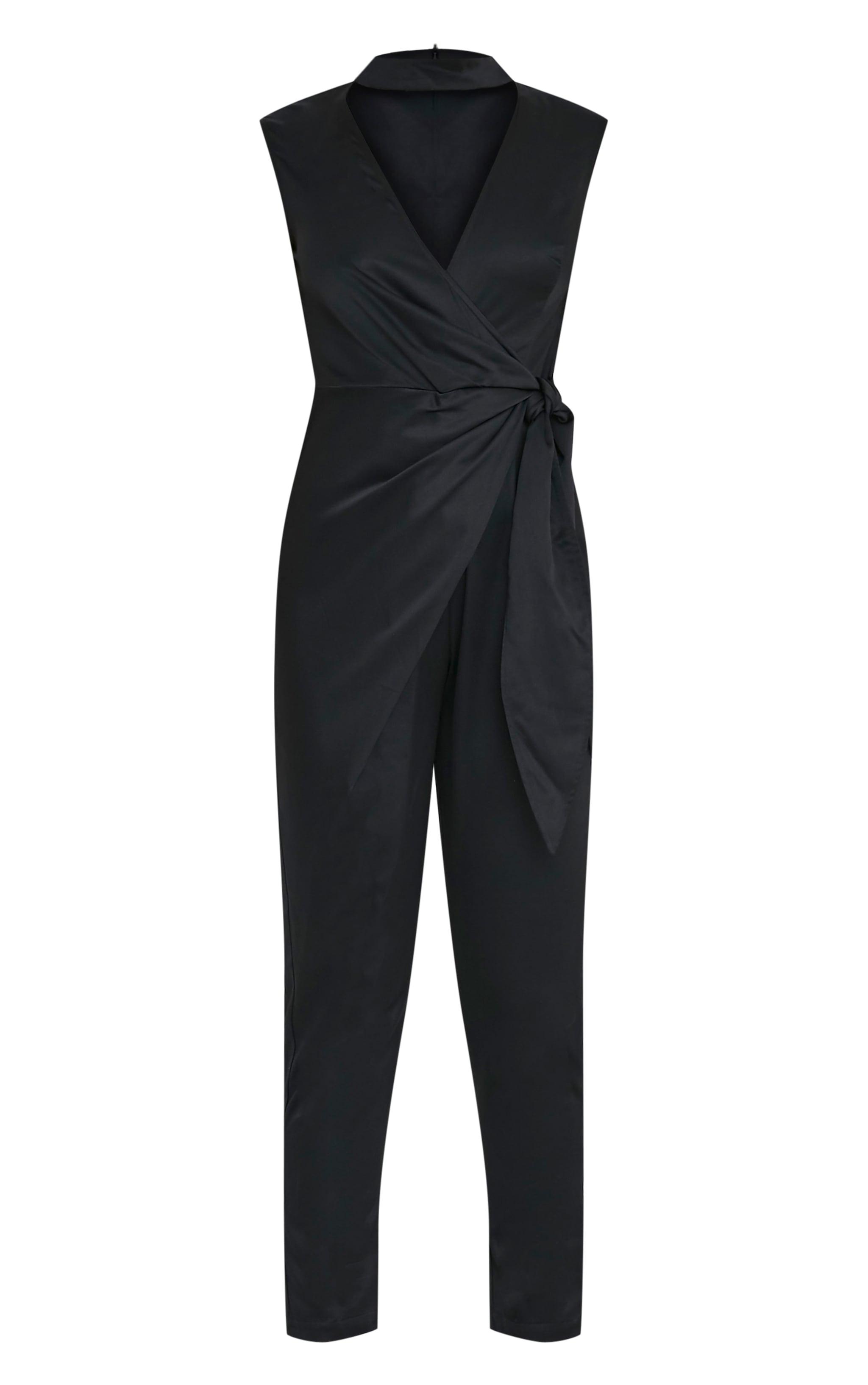 Carla Black Tie Side Choker Detail Satin Jumpsuit 3