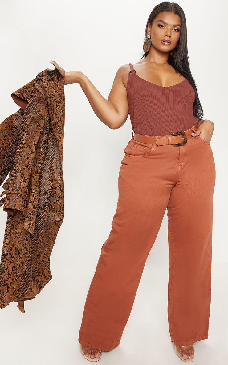 Plus Rust Extreme Wide Leg Jean 1