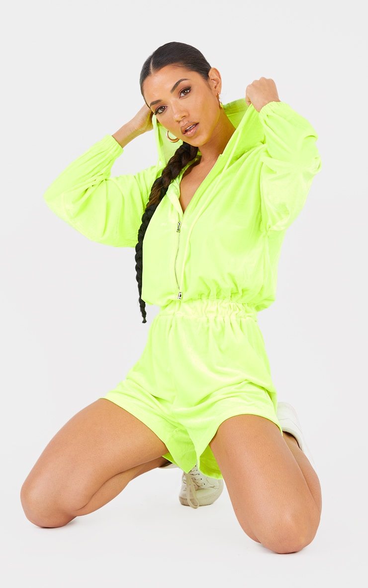 Lime Velour Seam Detail Hooded Playsuit 1